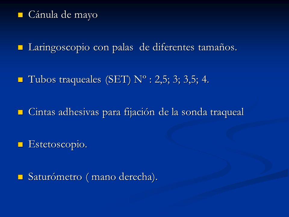 Cánula de mayo Cánula de mayo Laringoscopio con palas de diferentes tamaños.