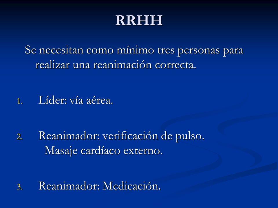 RRHH Se necesitan como mínimo tres personas para realizar una reanimación correcta.