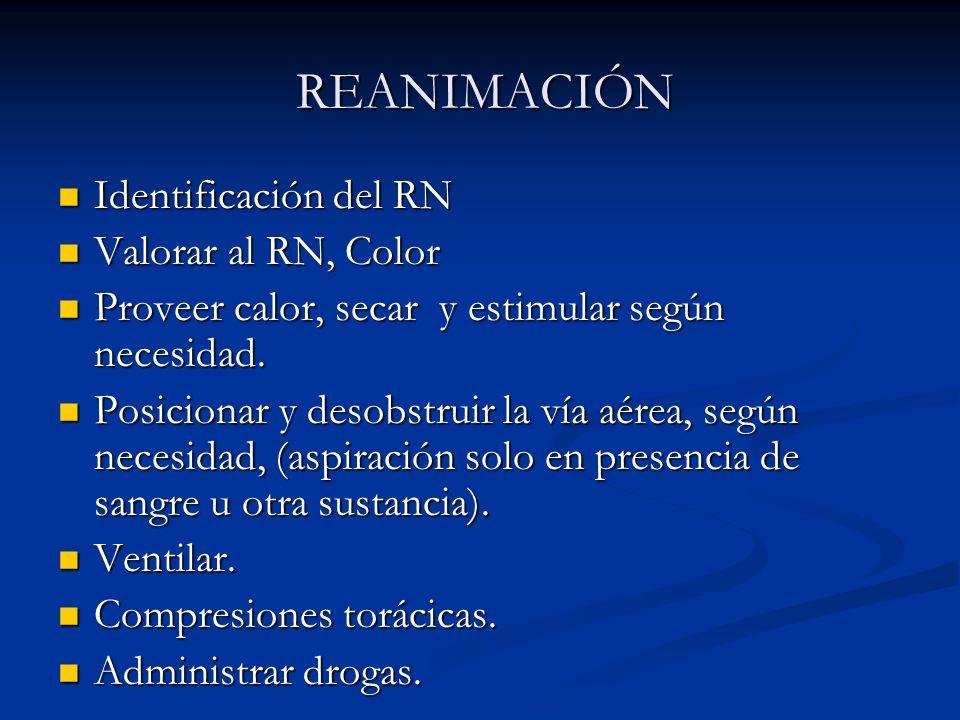 REANIMACIÓN REANIMACIÓN Identificación del RN Identificación del RN Valorar al RN, Color Valorar al RN, Color Proveer calor, secar y estimular según necesidad.