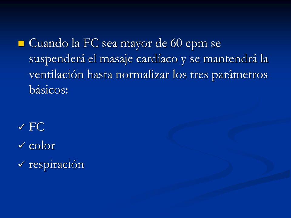 Cuando la FC sea mayor de 60 cpm se suspenderá el masaje cardíaco y se mantendrá la ventilación hasta normalizar los tres parámetros básicos: Cuando la FC sea mayor de 60 cpm se suspenderá el masaje cardíaco y se mantendrá la ventilación hasta normalizar los tres parámetros básicos: FC FC color color respiración respiración