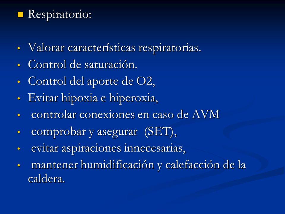 Respiratorio: Respiratorio: Valorar características respiratorias.