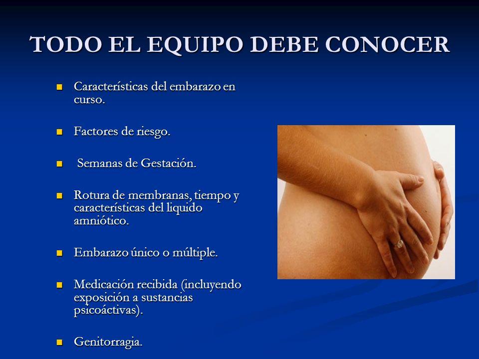 TODO EL EQUIPO DEBE CONOCER Características del embarazo en curso.
