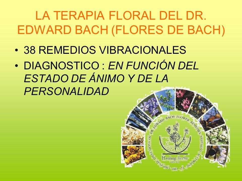 LA TERAPIA FLORAL DEL DR. EDWARD BACH (FLORES DE BACH) 38 REMEDIOS VIBRACIONALES DIAGNOSTICO : EN FUNCIÓN DEL ESTADO DE ÁNIMO Y DE LA PERSONALIDAD