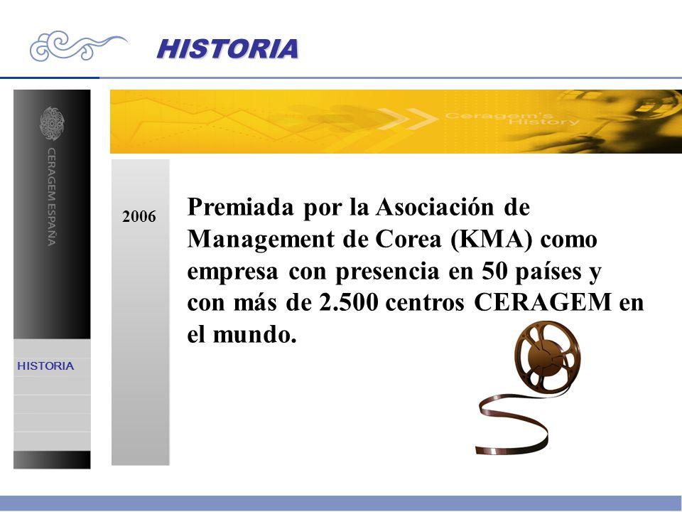 2006 Premiada por la Asociación de Management de Corea (KMA) como empresa con presencia en 50 países y con más de 2.500 centros CERAGEM en el mundo. H