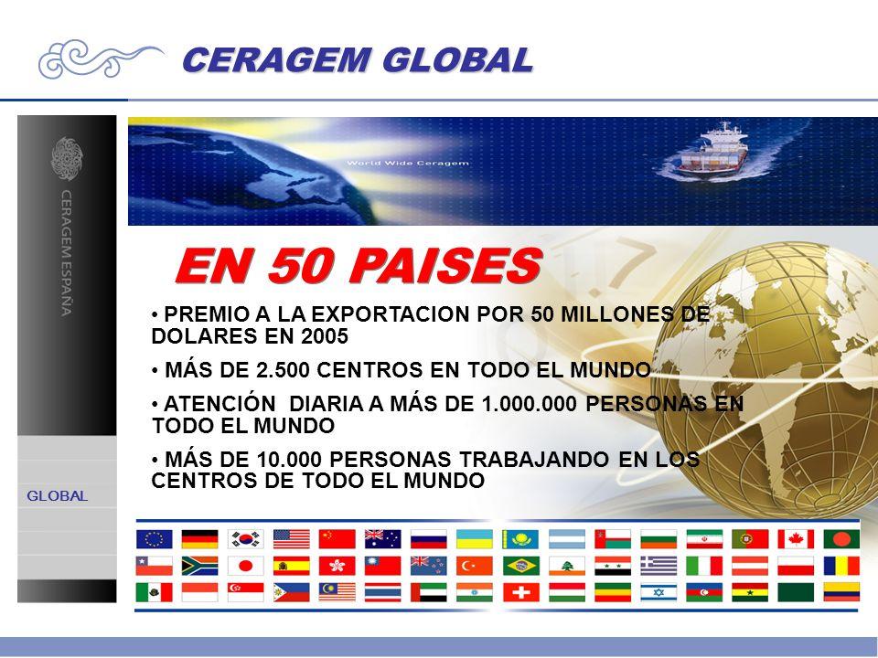 EN 50 PAISES PREMIO A LA EXPORTACION POR 50 MILLONES DE DOLARES EN 2005 MÁS DE 2.500 CENTROS EN TODO EL MUNDO ATENCIÓN DIARIA A MÁS DE 1.000.000 PERSO