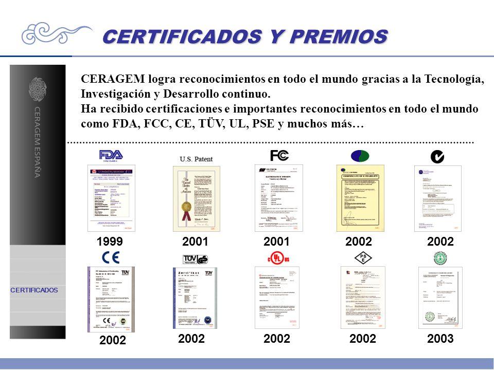 CERTIFICADOS Y PREMIOS CERTIFICADOS CERAGEM logra reconocimientos en todo el mundo gracias a la Tecnología, Investigación y Desarrollo continuo. Ha re