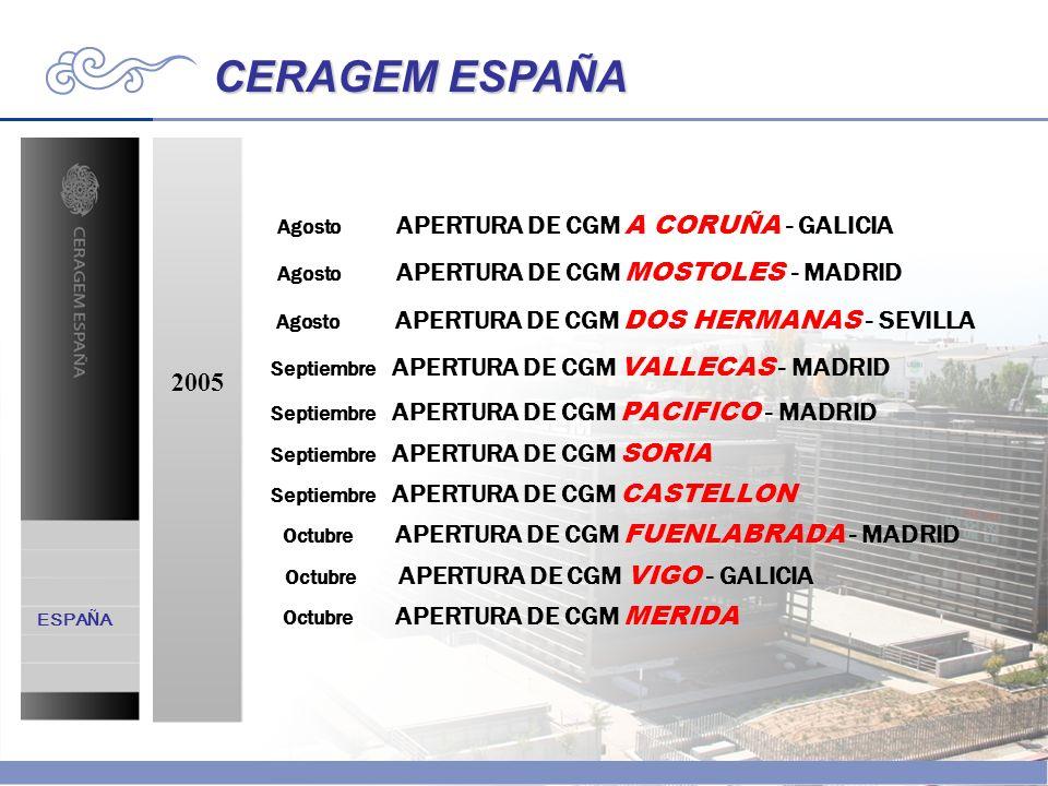 CERAGEM ESPAÑA 2005 Agosto APERTURA DE CGM A CORUÑA - GALICIA Agosto APERTURA DE CGM MOSTOLES - MADRID Agosto APERTURA DE CGM DOS HERMANAS - SEVILLA S