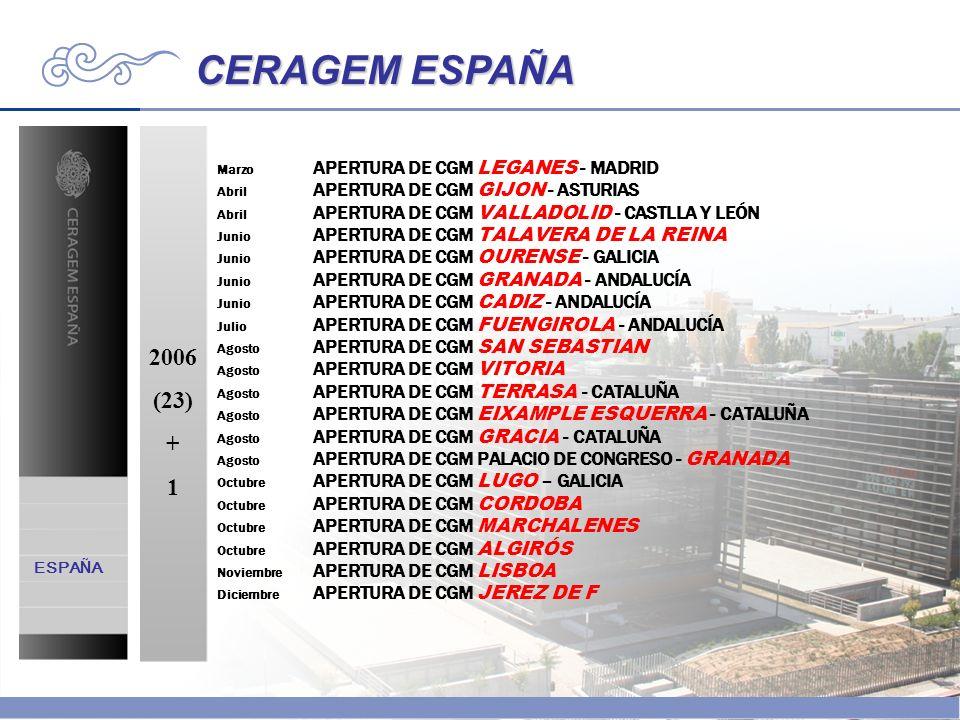 CERAGEM ESPAÑA 2006 (23) + 1 ESPAÑA Marzo APERTURA DE CGM LEGANES - MADRID Abril APERTURA DE CGM GIJON - ASTURIAS Abril APERTURA DE CGM VALLADOLID - C