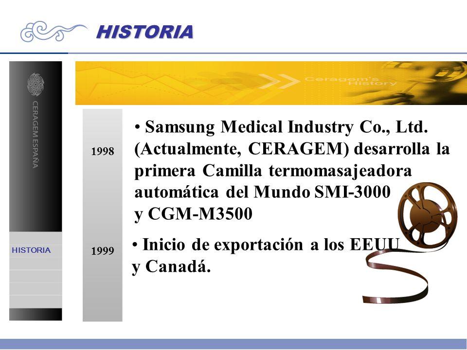 HISTORIA 1998 Samsung Medical Industry Co., Ltd. (Actualmente, CERAGEM) desarrolla la primera Camilla termomasajeadora automática del Mundo SMI-3000 y