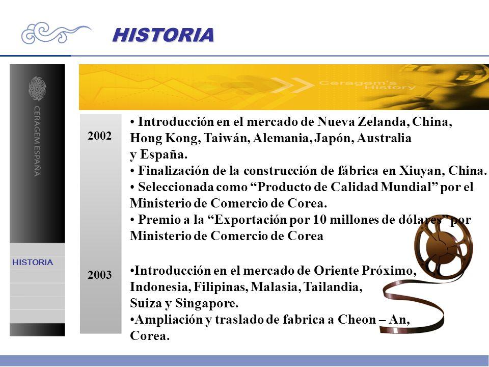 2002 2003 Introducción en el mercado de Nueva Zelanda, China, Hong Kong, Taiwán, Alemania, Japón, Australia y España. Finalización de la construcción
