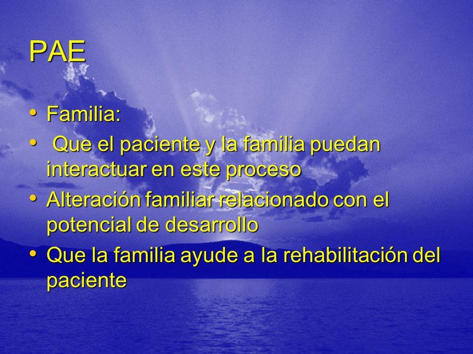 PAE Familia: Familia: Que el paciente y la familia puedan interactuar en este proceso Que el paciente y la familia puedan interactuar en este proceso Alteración familiar relacionado con el potencial de desarrollo Alteración familiar relacionado con el potencial de desarrollo Que la familia ayude a la rehabilitación del paciente Que la familia ayude a la rehabilitación del paciente