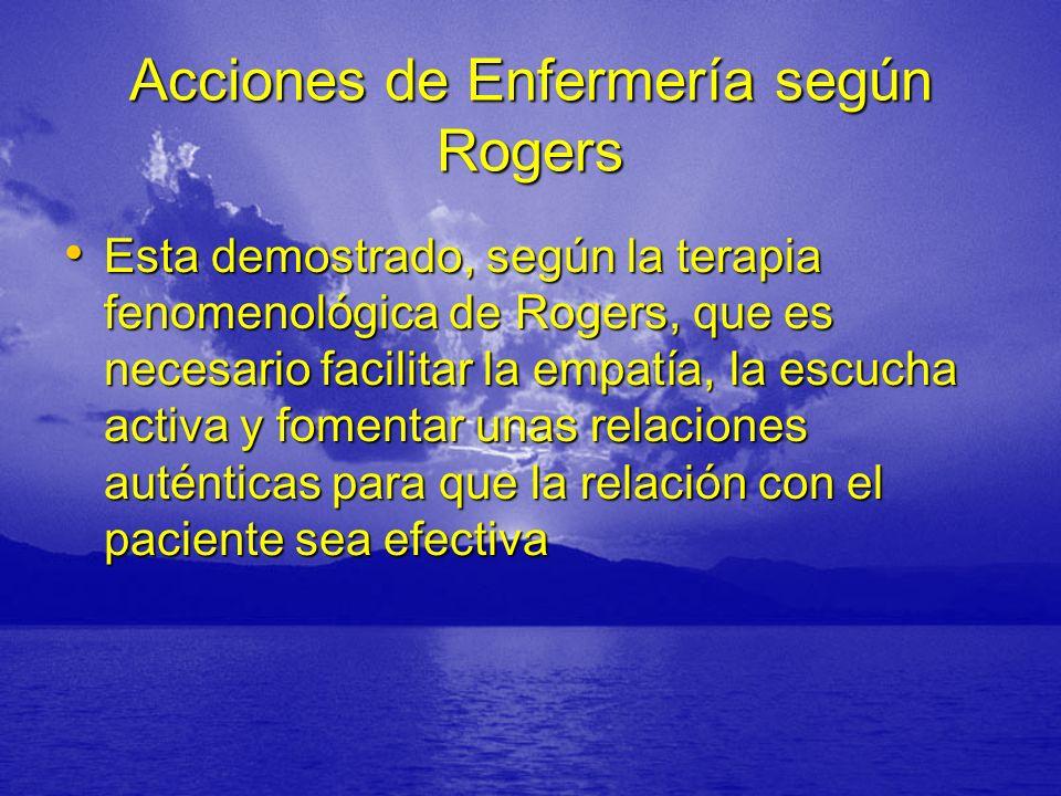 Acciones de Enfermería según Rogers Esta demostrado, según la terapia fenomenológica de Rogers, que es necesario facilitar la empatía, la escucha acti