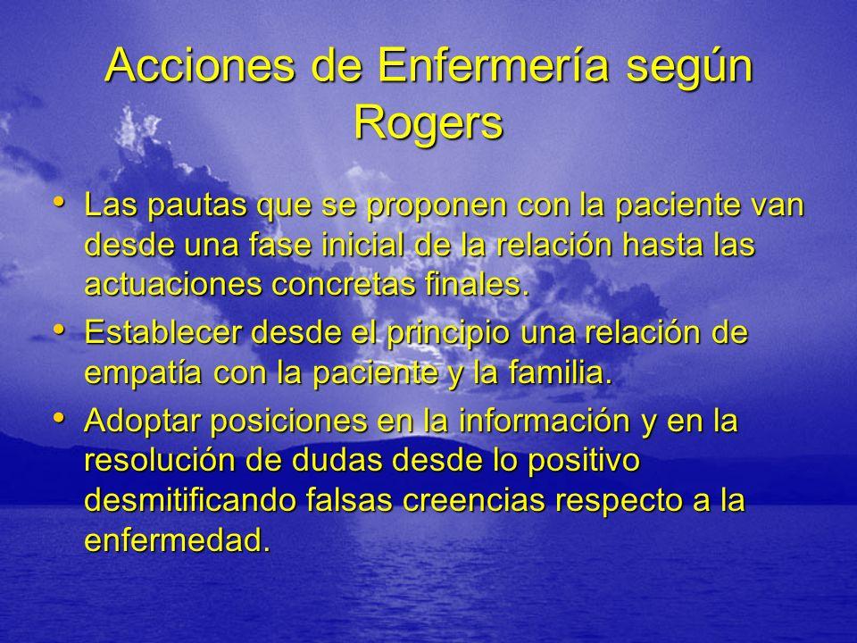 Acciones de Enfermería según Rogers Las pautas que se proponen con la paciente van desde una fase inicial de la relación hasta las actuaciones concretas finales.