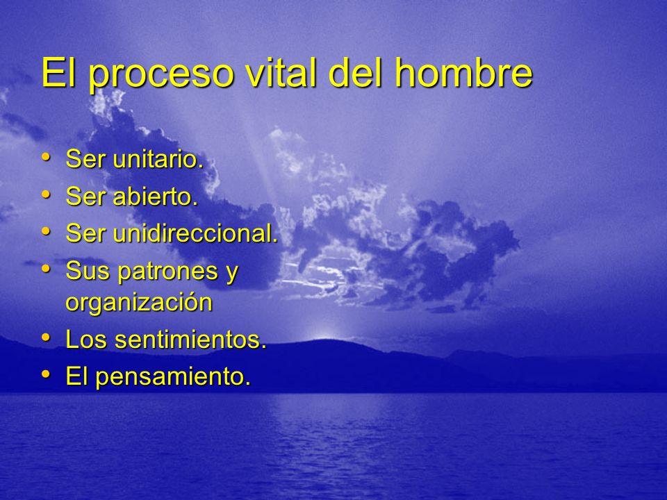 El proceso vital del hombre Ser unitario. Ser unitario. Ser abierto. Ser abierto. Ser unidireccional. Ser unidireccional. Sus patrones y organización