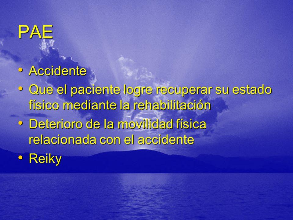 PAE Accidente Accidente Que el paciente logre recuperar su estado físico mediante la rehabilitación Que el paciente logre recuperar su estado físico mediante la rehabilitación Deterioro de la movilidad física relacionada con el accidente Deterioro de la movilidad física relacionada con el accidente Reiky Reiky