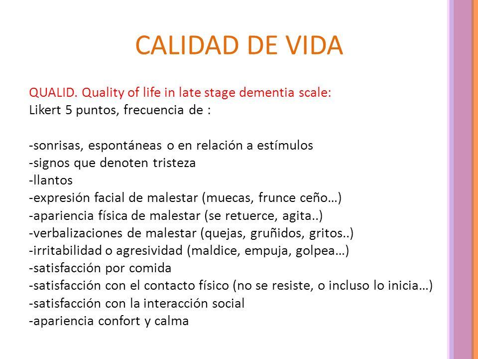 CALIDAD DE VIDA QUALID. Quality of life in late stage dementia scale: Likert 5 puntos, frecuencia de : -sonrisas, espontáneas o en relación a estímulo
