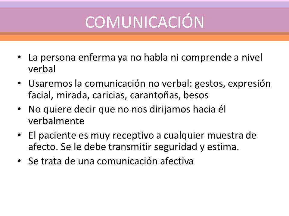 COMUNICACIÓN La persona enferma ya no habla ni comprende a nivel verbal Usaremos la comunicación no verbal: gestos, expresión facial, mirada, caricias