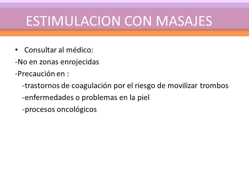 Consultar al médico: -No en zonas enrojecidas -Precaución en : -trastornos de coagulación por el riesgo de movilizar trombos -enfermedades o problemas en la piel -procesos oncológicos