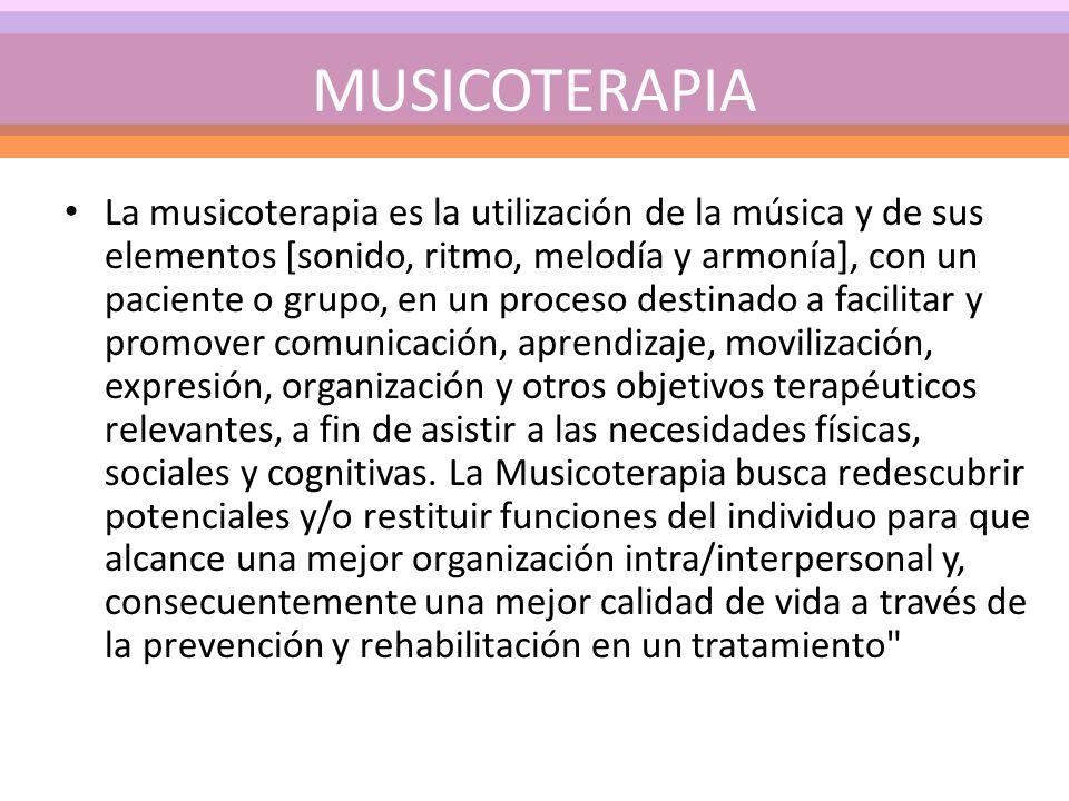 La musicoterapia es la utilización de la música y de sus elementos [sonido, ritmo, melodía y armonía], con un paciente o grupo, en un proceso destinad