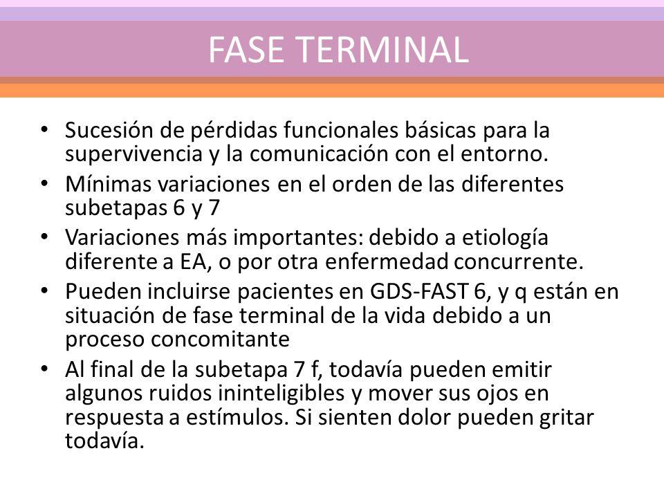 Sucesión de pérdidas funcionales básicas para la supervivencia y la comunicación con el entorno. Mínimas variaciones en el orden de las diferentes sub