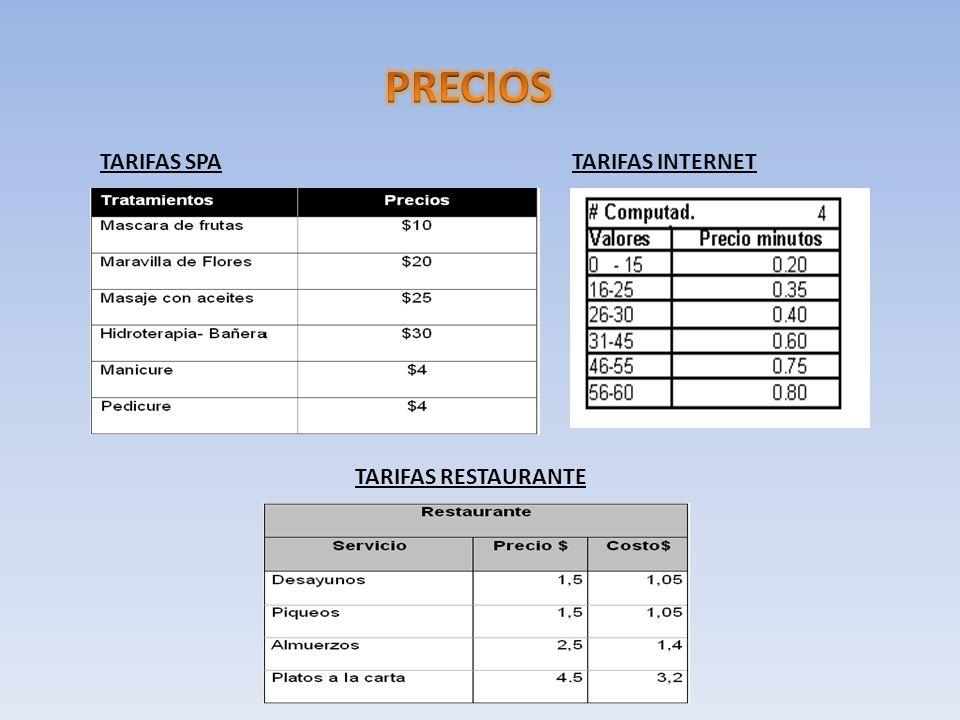 TARIFAS SPATARIFAS INTERNET TARIFAS RESTAURANTE