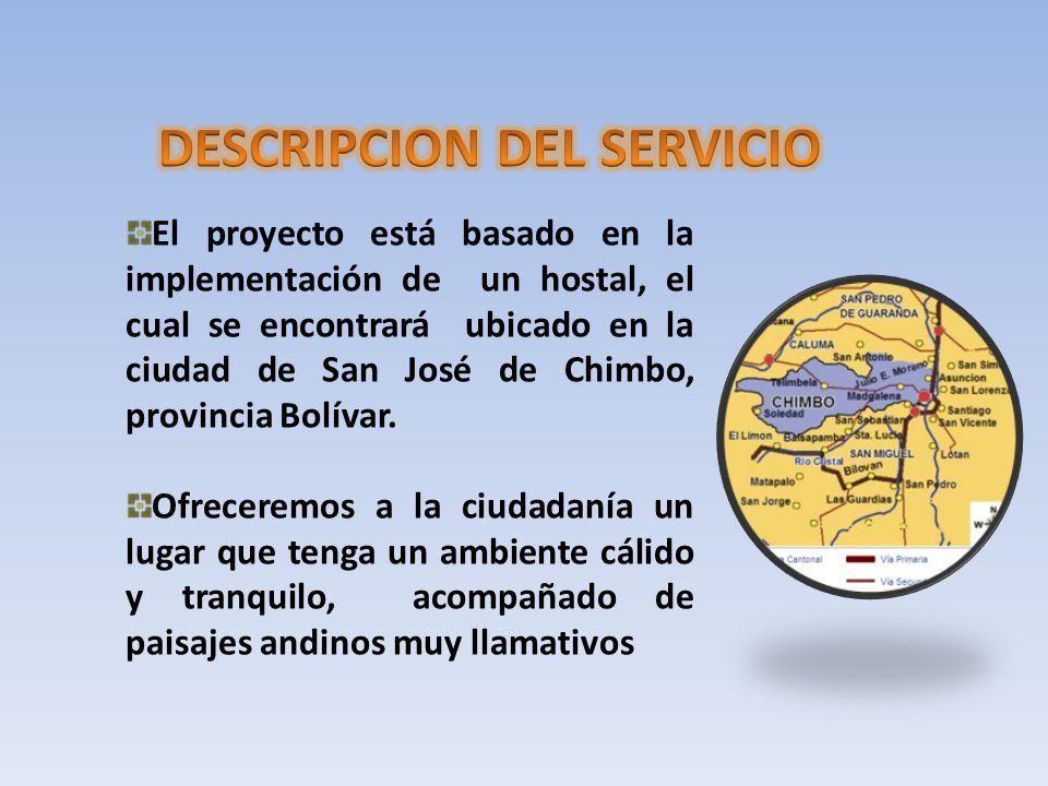 El proyecto está basado en la implementación de un hostal, el cual se encontrará ubicado en la ciudad de San José de Chimbo, provincia Bolívar. Ofrece
