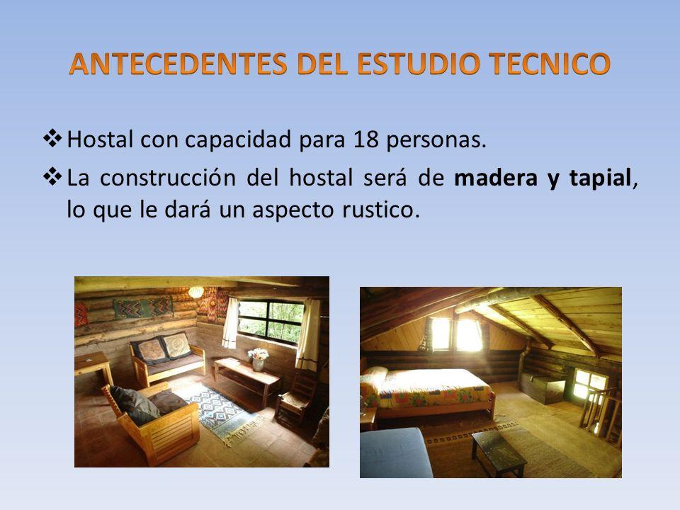 Hostal con capacidad para 18 personas. La construcción del hostal será de madera y tapial, lo que le dará un aspecto rustico.