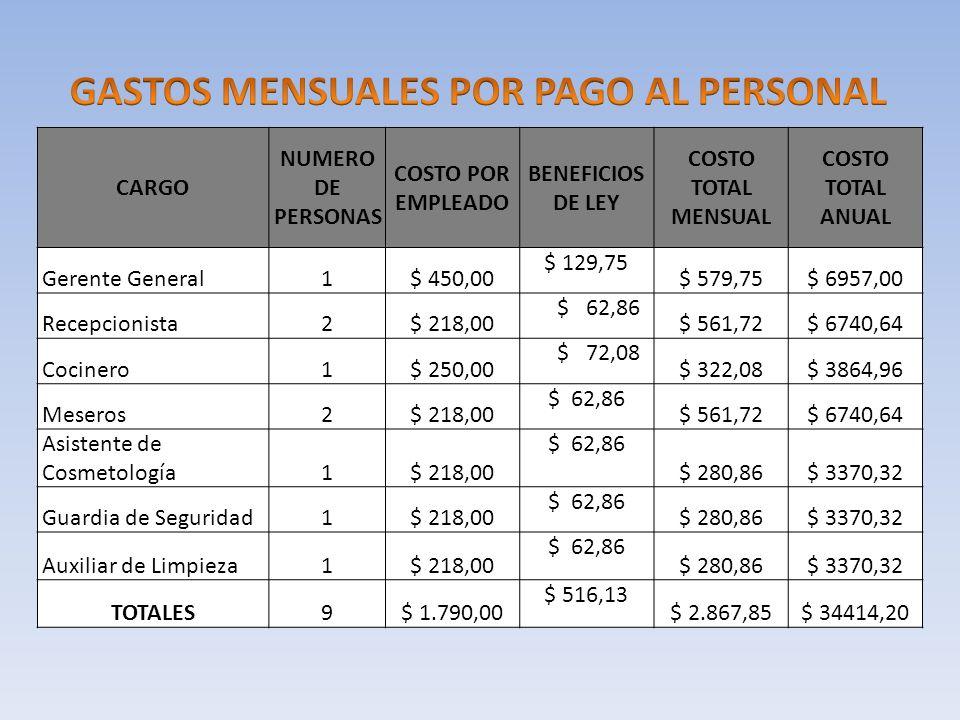CARGO NUMERO DE PERSONAS COSTO POR EMPLEADO BENEFICIOS DE LEY COSTO TOTAL MENSUAL COSTO TOTAL ANUAL Gerente General1$ 450,00 $ 129,75 $ 579,75$ 6957,0