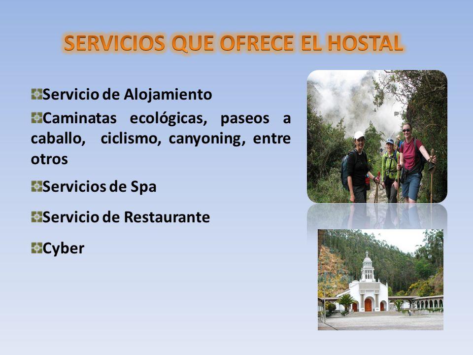 Servicio de Alojamiento Caminatas ecológicas, paseos a caballo, ciclismo, canyoning, entre otros Servicios de Spa Servicio de Restaurante Cyber