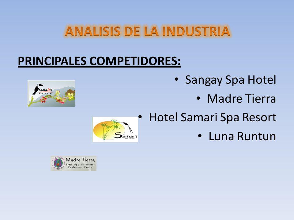 PRINCIPALES COMPETIDORES: Sangay Spa Hotel Madre Tierra Hotel Samari Spa Resort Luna Runtun