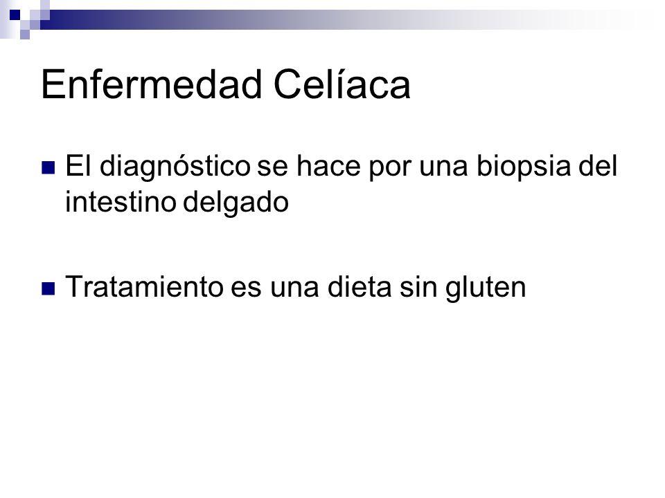 Enfermedad Celíaca El diagnóstico se hace por una biopsia del intestino delgado Tratamiento es una dieta sin gluten