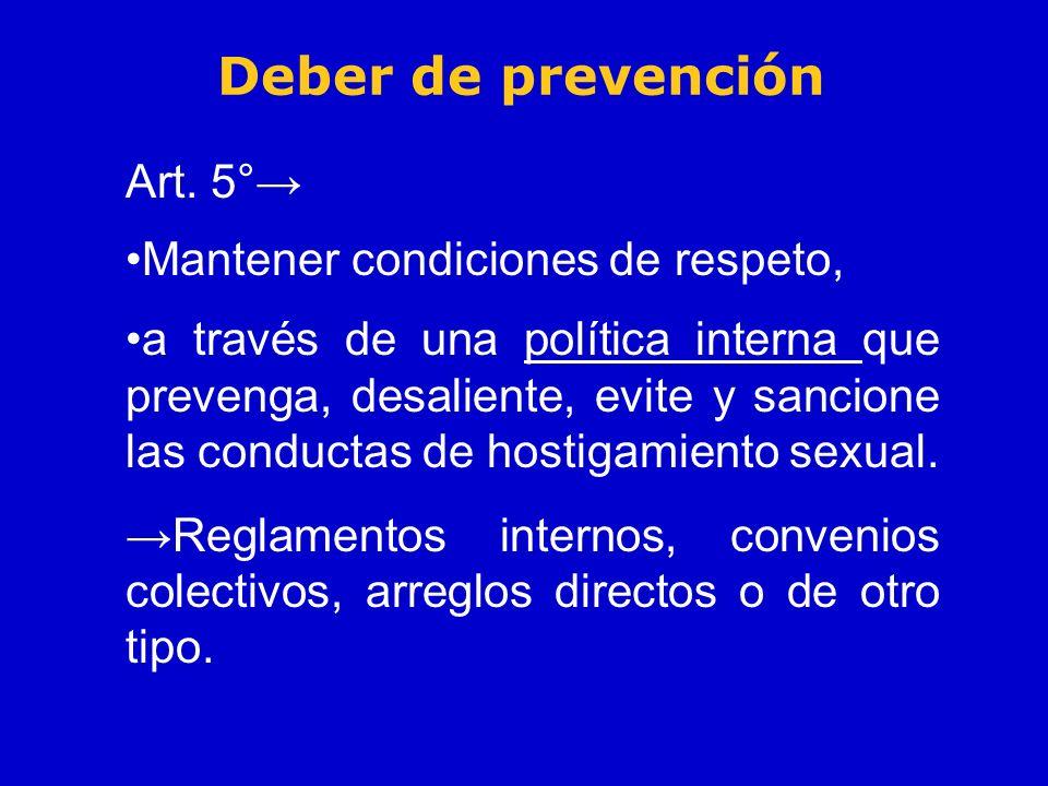 Deber de prevención Art. 5° Mantener condiciones de respeto, a través de una política interna que prevenga, desaliente, evite y sancione las conductas
