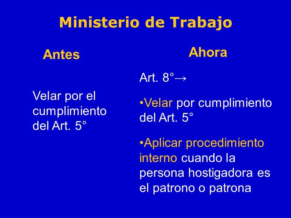 Velar por el cumplimiento del Art. 5° Art. 8° Velar por cumplimiento del Art. 5° Aplicar procedimiento interno cuando la persona hostigadora es el pat