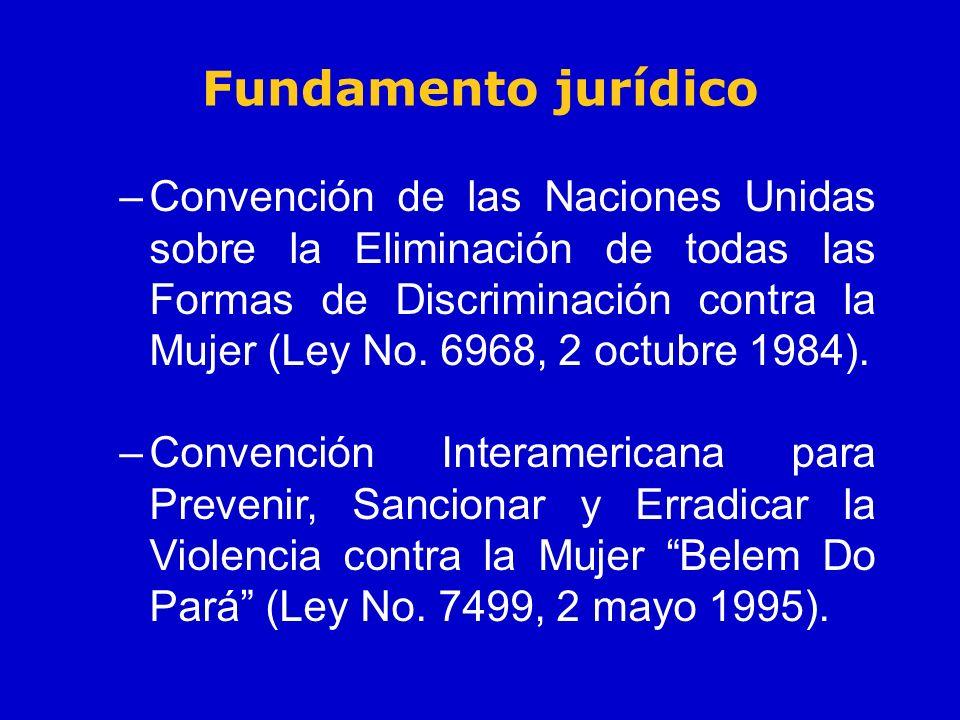 Fundamento jurídico –Convención de las Naciones Unidas sobre la Eliminación de todas las Formas de Discriminación contra la Mujer (Ley No. 6968, 2 oct