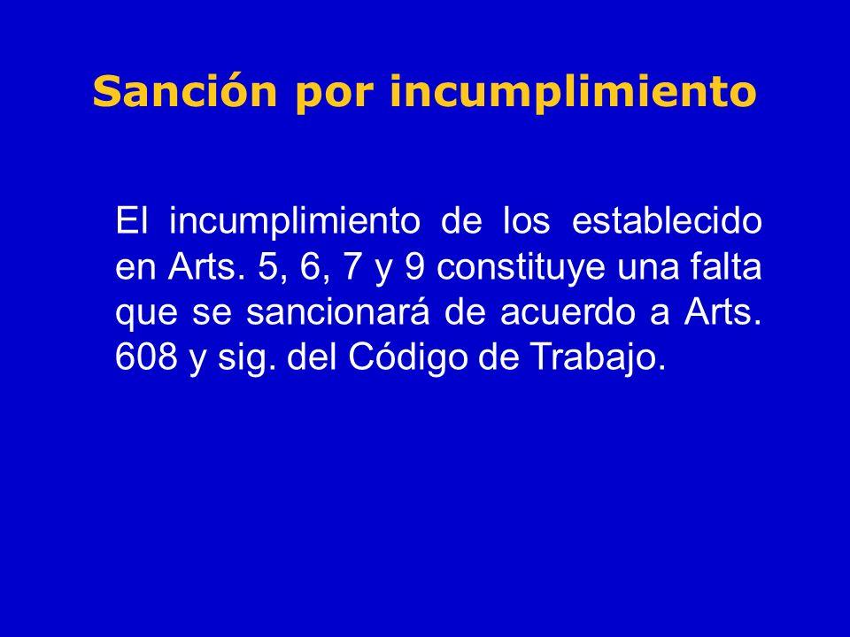 Sanción por incumplimiento El incumplimiento de los establecido en Arts. 5, 6, 7 y 9 constituye una falta que se sancionará de acuerdo a Arts. 608 y s