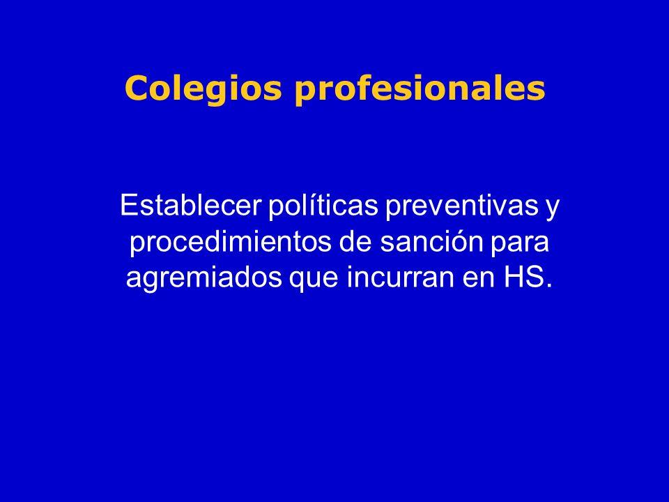 Colegios profesionales Establecer políticas preventivas y procedimientos de sanción para agremiados que incurran en HS.