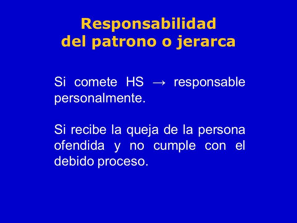Responsabilidad del patrono o jerarca Si comete HS responsable personalmente. Si recibe la queja de la persona ofendida y no cumple con el debido proc
