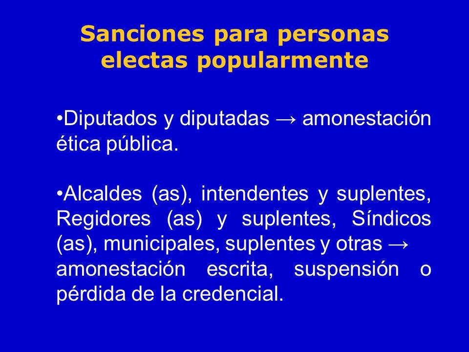 Sanciones para personas electas popularmente Diputados y diputadas amonestación ética pública. Alcaldes (as), intendentes y suplentes, Regidores (as)