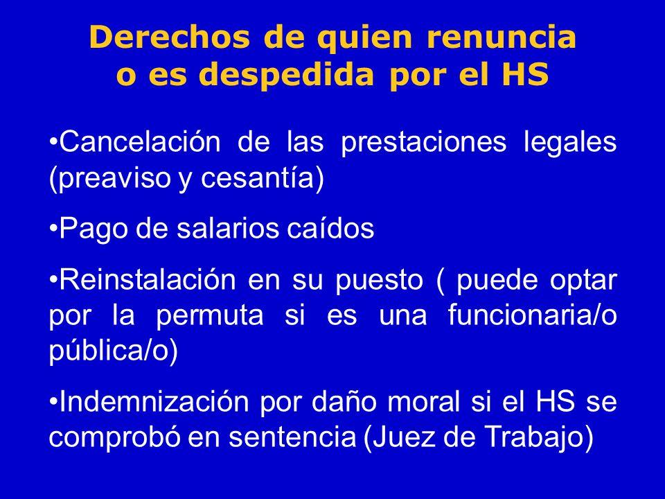Derechos de quien renuncia o es despedida por el HS Cancelación de las prestaciones legales (preaviso y cesantía) Pago de salarios caídos Reinstalació