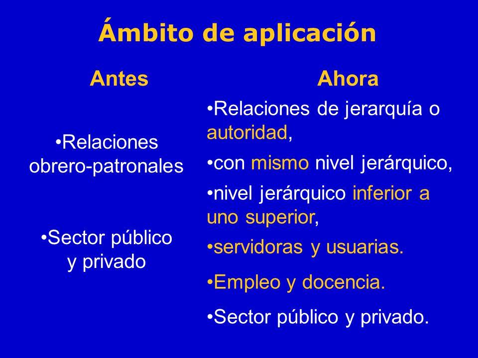 Ámbito de aplicación Antes Relaciones obrero-patronales Sector público y privado Ahora Relaciones de jerarquía o autoridad, con mismo nivel jerárquico