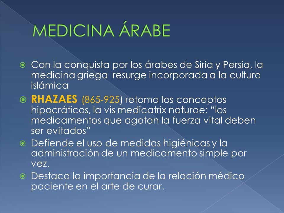 Con la conquista por los árabes de Siria y Persia, la medicina griega resurge incorporada a la cultura islámica RHAZAES (865-925) retoma los conceptos
