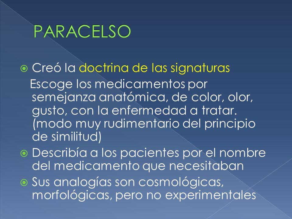 Creó la doctrina de las signaturas Escoge los medicamentos por semejanza anatómica, de color, olor, gusto, con la enfermedad a tratar. (modo muy rudim