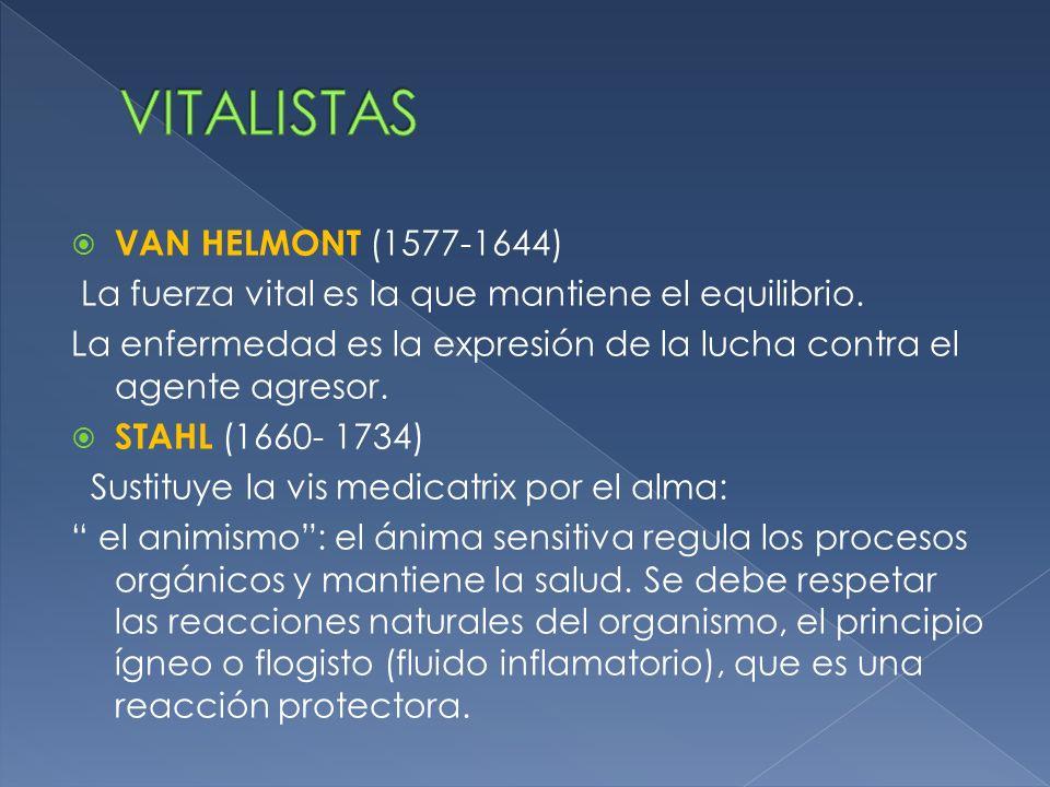 VAN HELMONT (1577-1644) La fuerza vital es la que mantiene el equilibrio. La enfermedad es la expresión de la lucha contra el agente agresor. STAHL (1