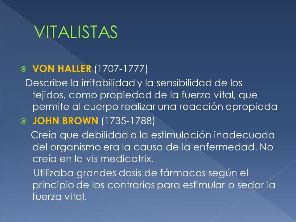 VON HALLER (1707-1777) Describe la irritabilidad y la sensibilidad de los tejidos, como propiedad de la fuerza vital, que permite al cuerpo realizar u