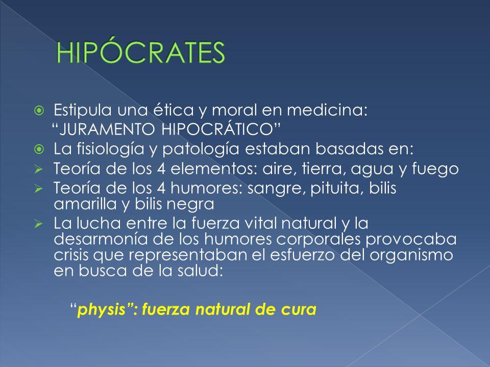 Estipula una ética y moral en medicina: JURAMENTO HIPOCRÁTICO La fisiología y patología estaban basadas en: Teoría de los 4 elementos: aire, tierra, a