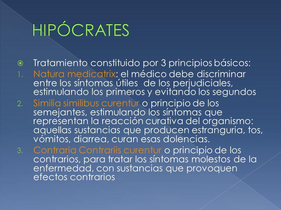 Tratamiento constituido por 3 principios básicos: 1. Natura medicatrix: el médico debe discriminar entre los síntomas útiles de los perjudiciales, est