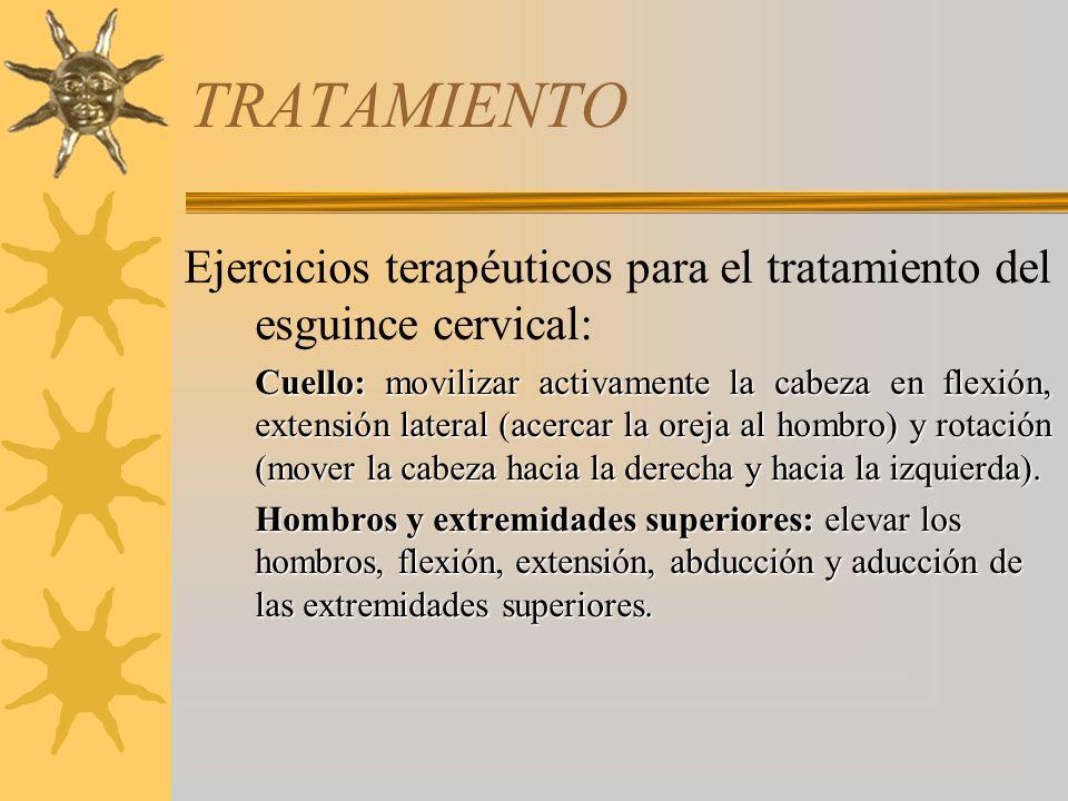 TRATAMIENTO Ejercicios terapéuticos para el tratamiento del esguince cervical: Cuello: movilizar activamente la cabeza en flexión, extensión lateral (