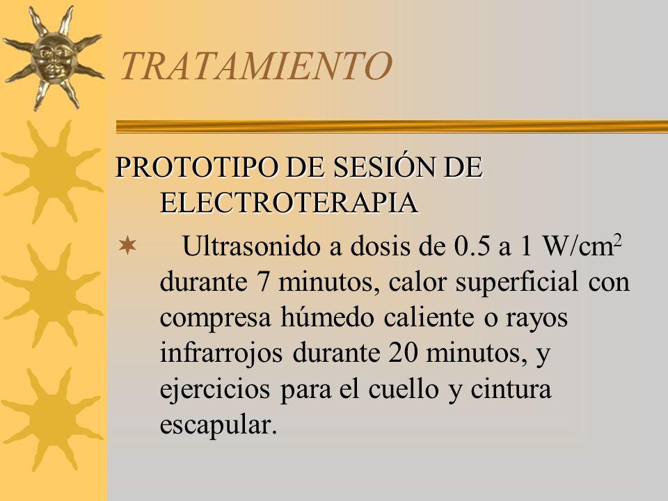 TRATAMIENTO PROTOTIPO DE SESIÓN DE ELECTROTERAPIA Ultrasonido a dosis de 0.5 a 1 W/cm 2 durante 7 minutos, calor superficial con compresa húmedo calie