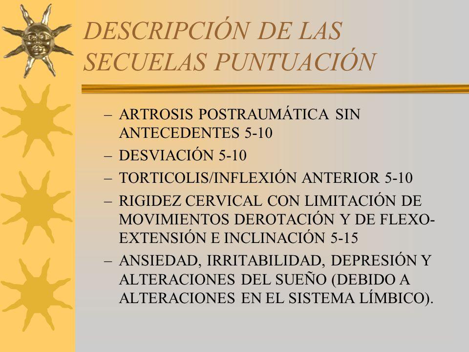 DESCRIPCIÓN DE LAS SECUELAS PUNTUACIÓN –ARTROSIS POSTRAUMÁTICA SIN ANTECEDENTES 5-10 –DESVIACIÓN 5-10 –TORTICOLIS/INFLEXIÓN ANTERIOR 5-10 –RIGIDEZ CER
