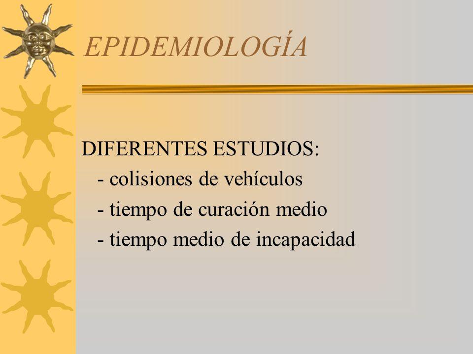 EPIDEMIOLOGÍA DIFERENTES ESTUDIOS: - colisiones de vehículos - tiempo de curación medio - tiempo medio de incapacidad